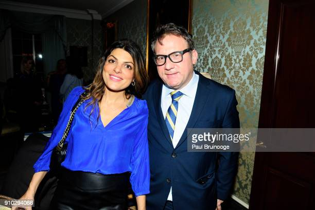 Mona Sharaf and Adam Weiss attend Martin and Jean Shafiroff host 'Beat the January Blues' Cocktails for Southampton Animal Shelter at Private...