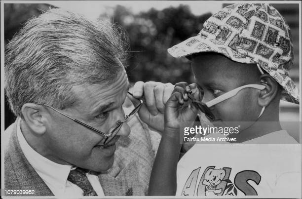 Mona Sikilabo after her eye operation at Prince of Wales Children Hospital with Dr Les White May 28 1993