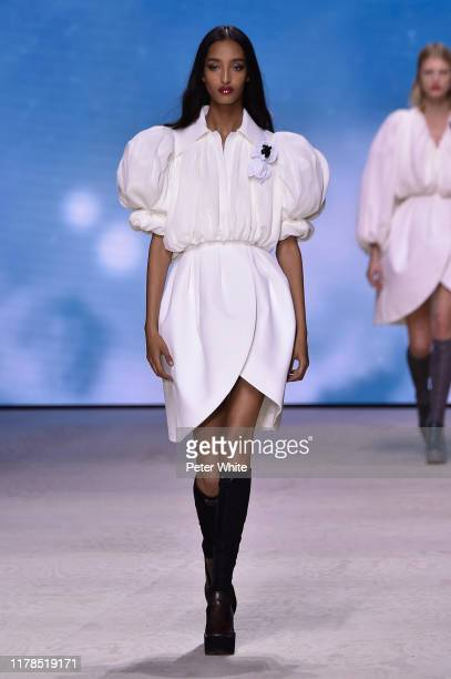 Mona Tougaard walks the runway during the Louis Vuitton Womenswear Spring/Summer 2020 show as part of Paris Fashion Week on October 01 2019 in Paris...