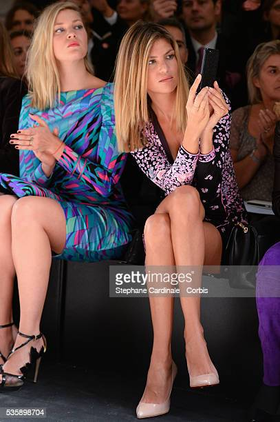 Mona Walravens and Isabelle Funaro attends Leonard show as part of the Paris Fashion Week Womenswear Spring/Summer 2014 in Paris