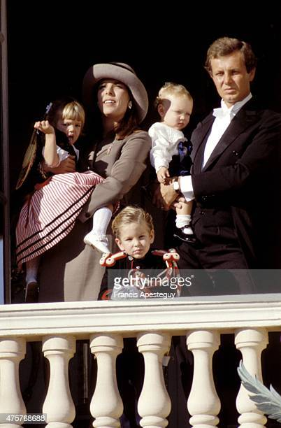 Monaco 19 November 1988 Princess Caroline of Monaco and her second husband Stefano Casiraghi on the balcony of the Palace of the Princes for the...