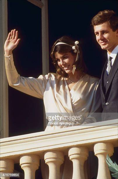 Monaco 19 November1987 Princess Caroline of Monaco with her second husband Stefano Casiraghi on the balcony of the Palace of the Princes for the...
