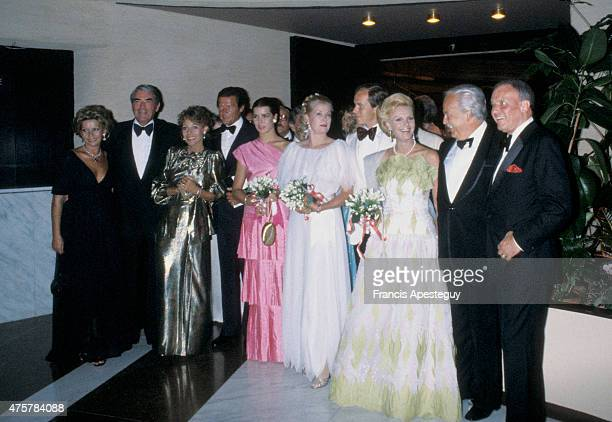 Monaco 5 August 1980 Princess Grace of Monaco during the annual Red Cross Ball with her son Prince Albert Prince Rainier and her eldest daughter...