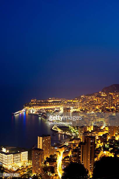Monaco (Monte Carlo) aerial view at night
