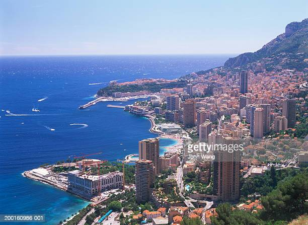 monaco, aerial view - monaco stock pictures, royalty-free photos & images