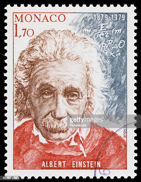 monaco albert einstein postage stamp - albert einstein stock pictures, royalty-free photos & images
