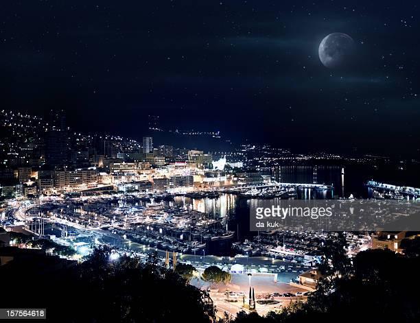 monaco at night - monaco stock pictures, royalty-free photos & images