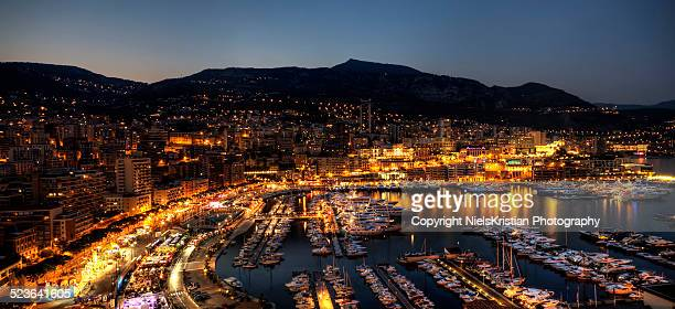 Monaco Bay Panorama at Blue Hour