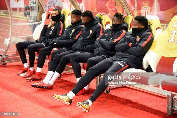 Rachid Ghezzal Pierre Daniel Nguinda Ndiffon Adama Diakhaby Kevin N'Doram and Terence Kongolo during the Ligue 1 match between AS Monaco and Troyes...