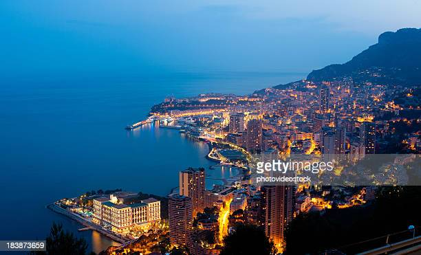 xxxl monaco (monte carlo) by night panoramic - monaco stock pictures, royalty-free photos & images