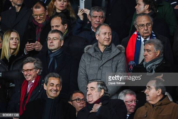 Monaco chairman Dmitriy Rybolovlev his wife on the left Monaco vice president Vadim Vasilyev and Jean Pierre Rivere president of Nice during the UEFA...