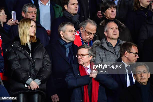 Monaco chairman Dmitriy Rybolovlev his wife to the left and Monaco vice president Vadim Vasilyev on the right during the UEFA Champions League Round...