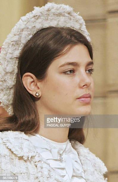 Charlotte Casiraghi daughter of Princess Caroline of Hanover attends the Pontifical Mass for the investiture of Albert II of Monaco celebrated in the...