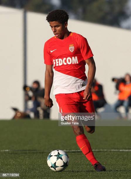 Monaco defender Leroy Mfomo from France in action during the UEFA Youth League match between FC Porto and AS Monaco at Centro de Estagios do Olival...