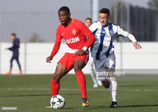 Monaco defender Yannis Yapende from France with FC Porto midfielder Afonso Gamelas De Pinho Sousa in action during the UEFA Youth League match...