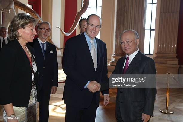 Monaco Director Maria Betti, Prince Albert II of Monaco and IAEA Managing Director Ykiya Amano attend IAEA 50th Anniversary' Celebration at Musee...