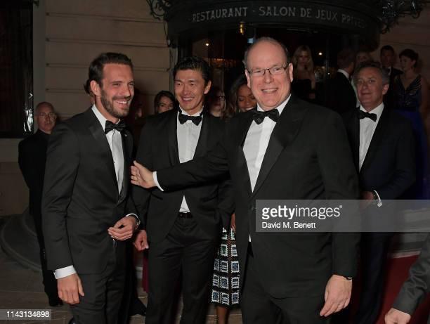 2019 Monaco EPrix winner JeanEric Vergne Rick Yune Albert II Prince of Monaco and Formula E CEO Alejandro Agag attend The ABB FIA Formula E 2019...