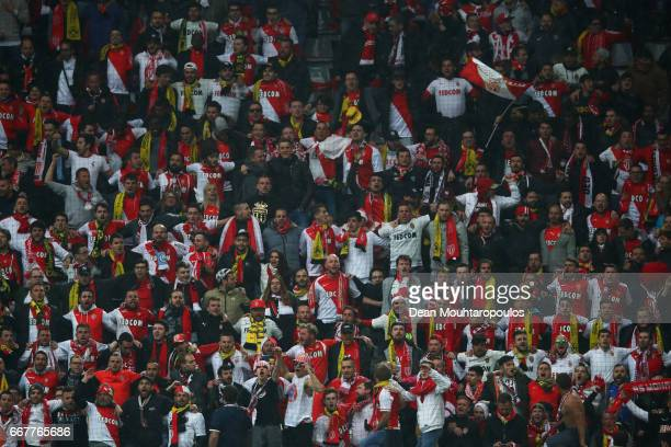 Monaco fans during the UEFA Champions League Quarter Final first leg match between Borussia Dortmund and AS Monaco at Signal Iduna Park on April 12...