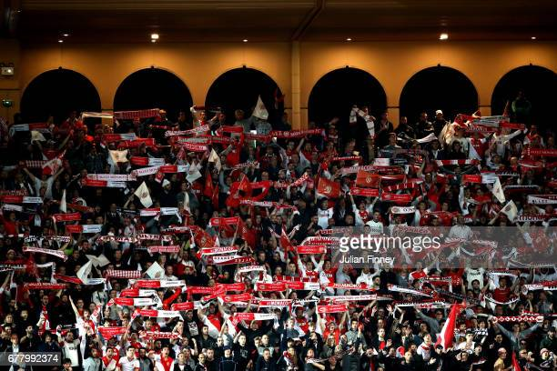 Monaco fans show their support during the UEFA Champions League Semi Final first leg match between AS Monaco v Juventus at Stade Louis II on May 3...