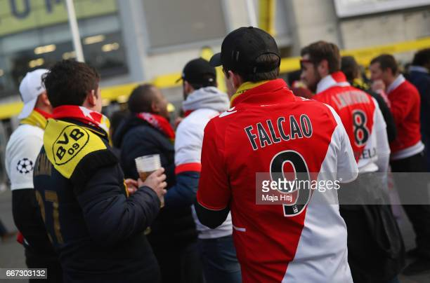 Monaco fans wait outside the stadium prior to the UEFA Champions League Quarter Final first leg match between Borussia Dortmund and AS Monaco at...