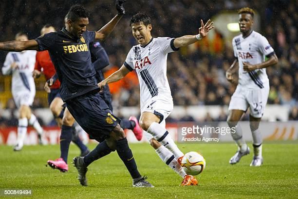 Monaco FC's TiemouŽ Bakayoko vies with Tottenham Hotspur's Son Heungmin during the UEFA Europa League Group J match between Tottenham and Monaco at...