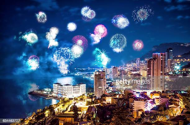Monaco, fireworks above Monte Carlo at night