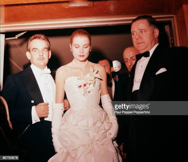 Monaco France January 1956 Prince Rainier is pictured with actress Grace Kelly after their engagement