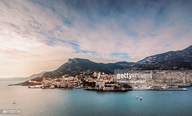 monaco harbour aerial view - monaco stock pictures, royalty-free photos & images