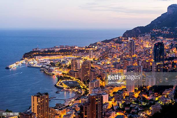 monaco harbour at twilight. - monaco stock pictures, royalty-free photos & images