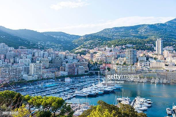 Monaco harbour at twilight.