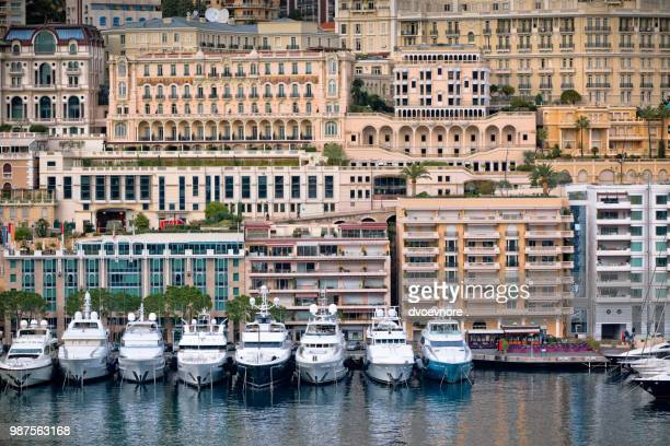 monaco harbour, monte carlo, view - monte carlo stock pictures, royalty-free photos & images