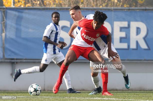 Monaco midfielder Kephren Ulien from France with FC Porto defender Diogo Dalot in action during the UEFA Youth League match between FC Porto and AS...