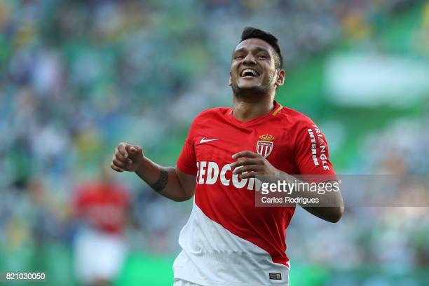 Monaco midfielder Rony Lopes from Portugal celebrates scoring a goal that the referee invalid during the Friendly match between Sporting CP and AS...