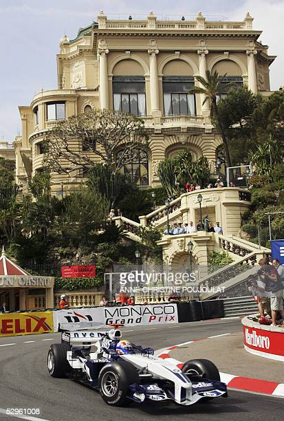 Australian BMW-Williams driver Mark Webber steers his car on the Monaco racetrack during the fourth free practice session, on the eve of the Monaco...