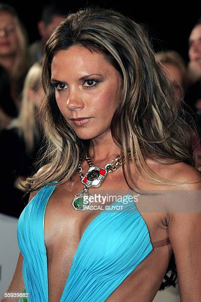 Former Spice Girl British singer Victoria Beckham arrives 17 October 2005 at the Grimaldi Forum center in Monaco to attend the Swarovski Fashion...