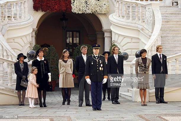 From left to right Caroline de Hanovre and his daughter Alexandra Charlotte Casiraghi ErnstAuguste de Hanovre Prince Albert II of Monaco Andrea...