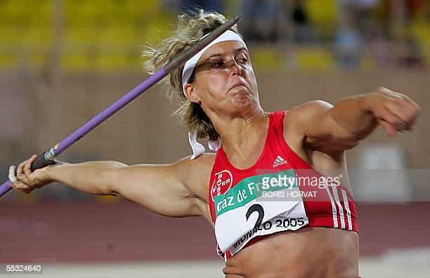 German Steffi Nerius competes in the javelin competition of the IAAF World Athletics Final 09 September 2005 at the Louis II stadium in Monaco AFP...