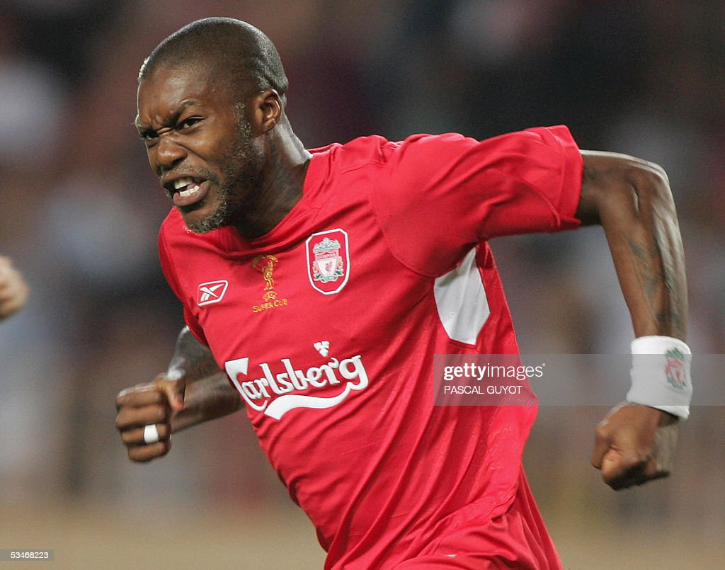 Liverpool's foward French Djibril Cisse jubilates after scoring a goal during the UEFA Super Cup Liverpool football match FC vs PFC CSKA Moscow football match, 26 August 2005 at the Louis II stadium in Monaco.