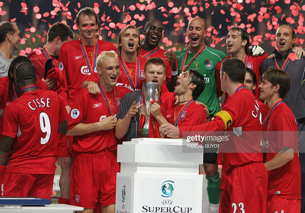 Liverpool's teammates jubilate after winning against CSKA Moscow their UEFA Super Cup football match Liverpool FC vs PFC CSKA Moscow at Monaco Louis II stadium, 26 august 2005. Liverpool FC won 3-1.