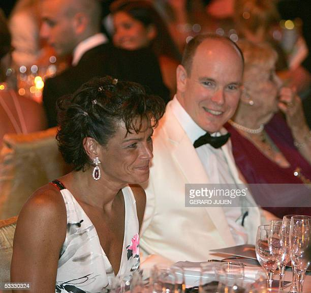 Prince Albert of Monaco and Princess Stephanie attend the dinner 05 August 2005 at the annual Red Cross Ball or Bal de la CroixRouge at the...