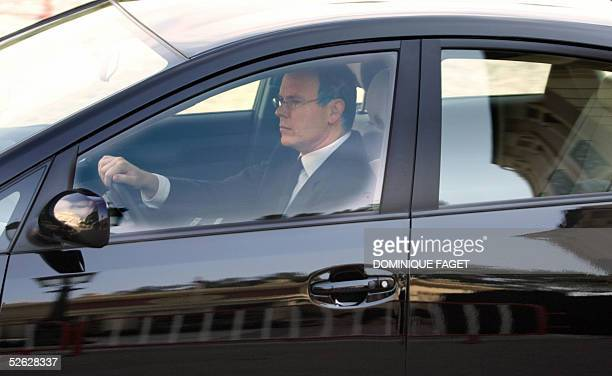 Prince Albert of Monaco arrives by car at the Prince Palace 14 April 2005 in Monaco on the eve of the funeral of his father Prince Rainier III of...