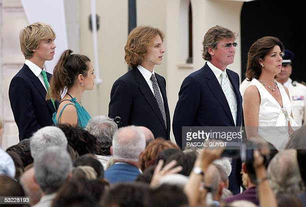 Princess Caroline de Hanover her husband Ernst of Hanover her son Andrea her daughter Charlotte and Christian of Hanover pose as they leave the...