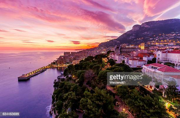 monaco, monte carlo at dusk - monaco stock pictures, royalty-free photos & images