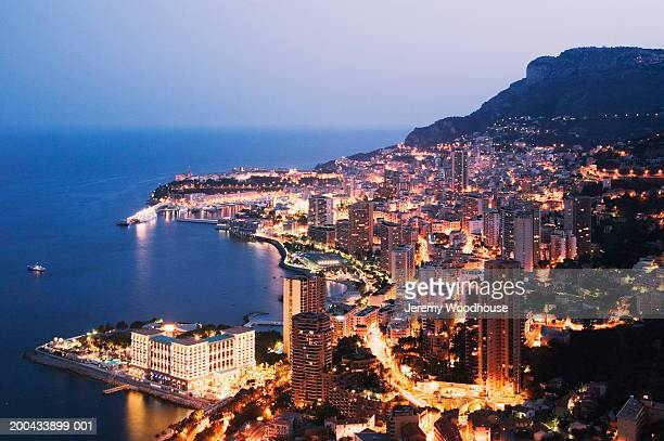monaco, monte carlo, night, elevated view - monte carlo stock pictures, royalty-free photos & images
