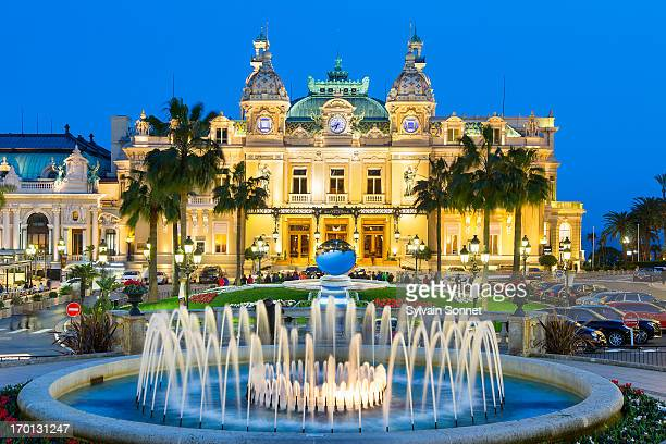 monaco, monte carlo, the casino at dusk - monte carlo stock pictures, royalty-free photos & images
