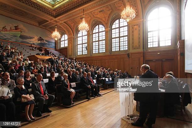 Monaco Oceanographic Intsitute Michel Petit speaks during the 'The Deep Seas, Challenges And Opportunities' Conference at Institut Oceanographique on...