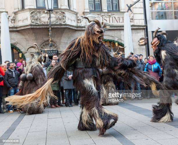 Monaco of Krampuslauf or Perchtenlauf during Advent in Monaco of Bavaria. An old tradition that takes place during the Christmas season in the Alps...