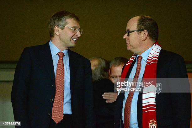 AS Monaco owner Dmitry Rybolovlev and Prince Albert II of Monaco talk prior to the UEFA Champions League Group C football match Monaco vs Benfica at...