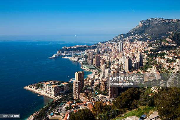 monaco (monte carlo) panoramic - monte carlo stock pictures, royalty-free photos & images