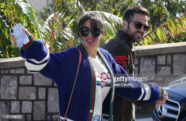 Monaco player Cesc Fabregas of Spain and his wife Daniella Semaan leave the Monte-Carlo Country Club after watching Rafael Nadal of Spain beat...